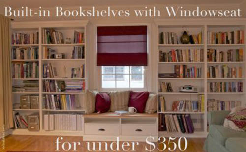 window seat with bookshelves title