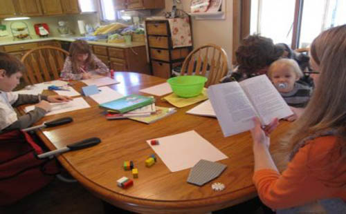 homeschooling at kitchen table